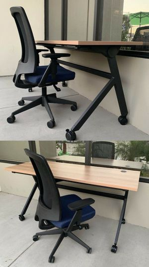 New in box HON 60x24x30 Inches Tall Flip Base Rolling Desk with Lota Full Function Office Chair Retail Value $1300 for Sale in Whittier, CA