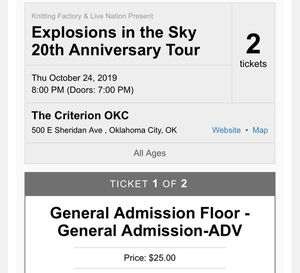 Explosions in the Sky | OKC, 10/24 for Sale in Oklahoma City, OK