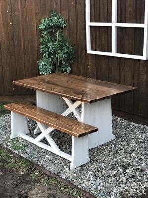 Farmhouse solid wood kitchen nook dining table and bench set custom small for Sale in Plano, TX