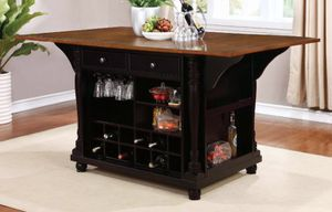 Brand New Black Kitchen Island with Brown Countertop for Sale in Tracy, CA