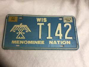 1992 Wisconsin Tribal Menominee Nation expired license plate for Sale in Hudson, FL