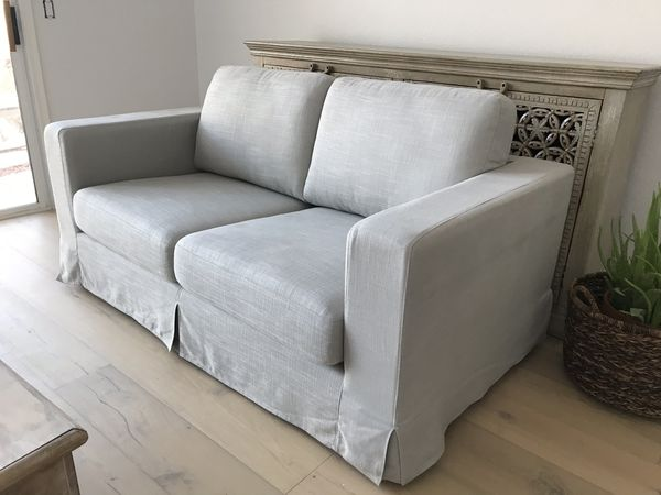 Stone and Beam modern loveseat sofa couch light gray linen