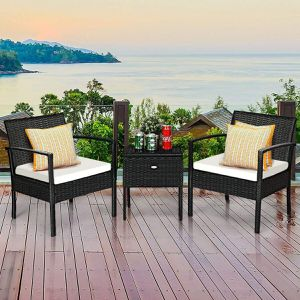 3 pcs outdoor Black/White/Orange rattan wicker furniture set 2 chairs 1 coffee table swimming pool side backyard patio porch for Sale in Westminster, CA