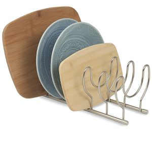 Kitchen Lid Organizer for Plates, Cutting Boards Bakeware, Cooling Racks, Pots & Pans, Serving Trays, and Reusable Containers, Satin Nickel for Sale in Quincy, MA