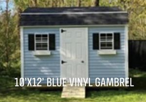 New 10' x 12' Blue Mist Vinyl Gambrel Shed for Sale in Lynnfield, MA