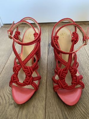 Cabi red chunky strappy heels with rope detail sz 7.5 for Sale in San Diego, CA