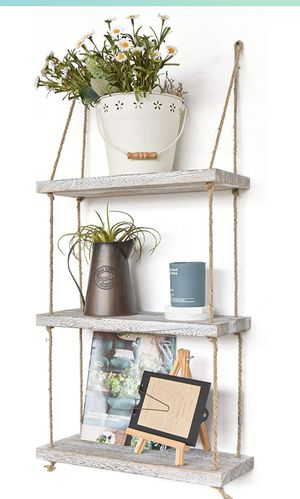 Labcosi 3 Tier Rope Wall Hanging Floating Shelves, Swing Rustic Wood Decorate and Display Rack for Living Room, Bedroom, and Outdoor (Shabby White) for Sale in Brooklyn, NY