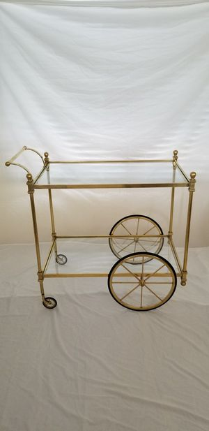 Hollywood Regency / Mid Century vintage two-tier brass bar cart or serving cart. for Sale in Phoenix, AZ