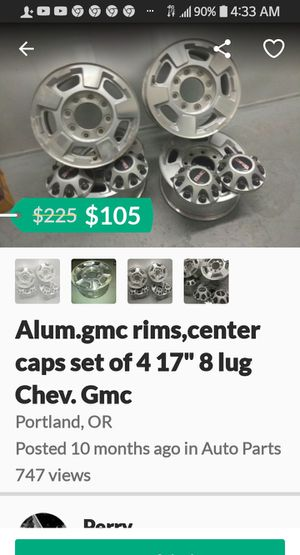 """GMC alum. 8 lugs 17"""" caps and lugs for Sale in Portland, OR"""