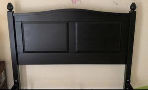 Queen headboard black wood for Sale in Bend, OR