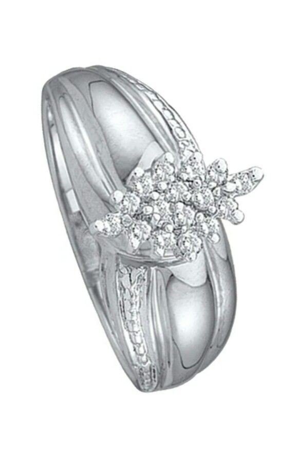 Sterling Silver Women's Diamond Cluster Ring