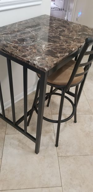 Granite top Table / Desk and 2 Swivel Stools for Sale in Sugar Land, TX