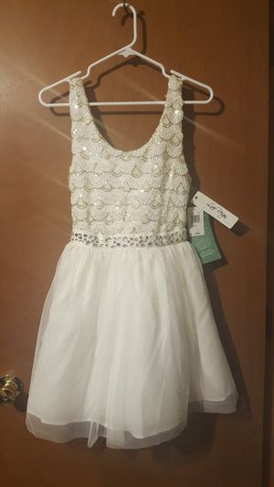 Brand New Love Reign By As You Wish Size 5 Off White Sequin Gem Sparkle Flower Girl Homecoming Party Dress for Sale in Independence, MO