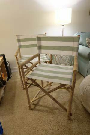 2 Striped Bamboo Folding Directors Chairs