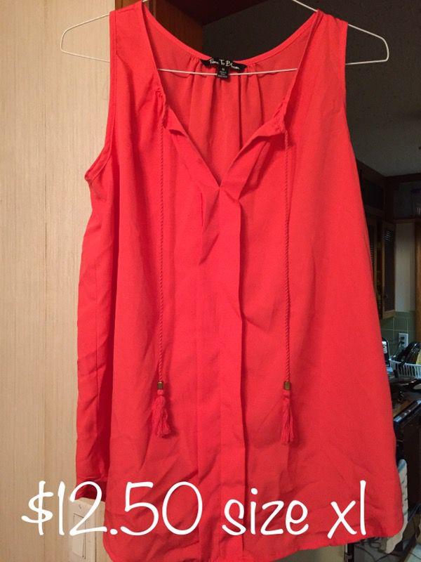 Orange sleeveless shirt size xl new with tags