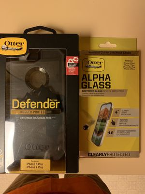 iPhone 7 Plus or 8 plus otter case and glass screen protector for Sale in Deltona, FL