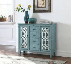 Mirrored Panel Doors with Antique Blue Finish Accent Cabinet! Lowest Prices Ever! for Sale in Sacramento, CA