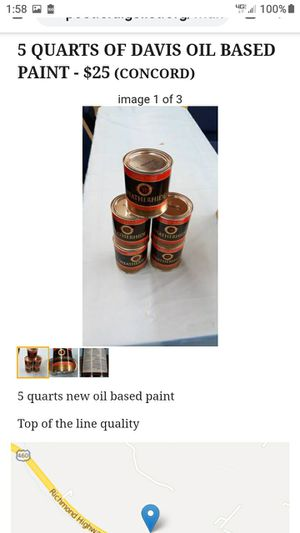 5 QUARTS OF DAVIS OIL BASED PAINT for Sale in Lynchburg, VA