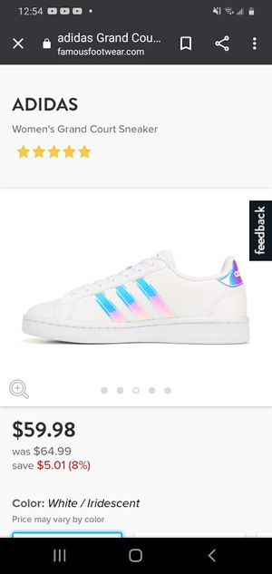 Womens Adidas Grand Court White/Iridescent Size 8 for Sale in Beaverton, OR