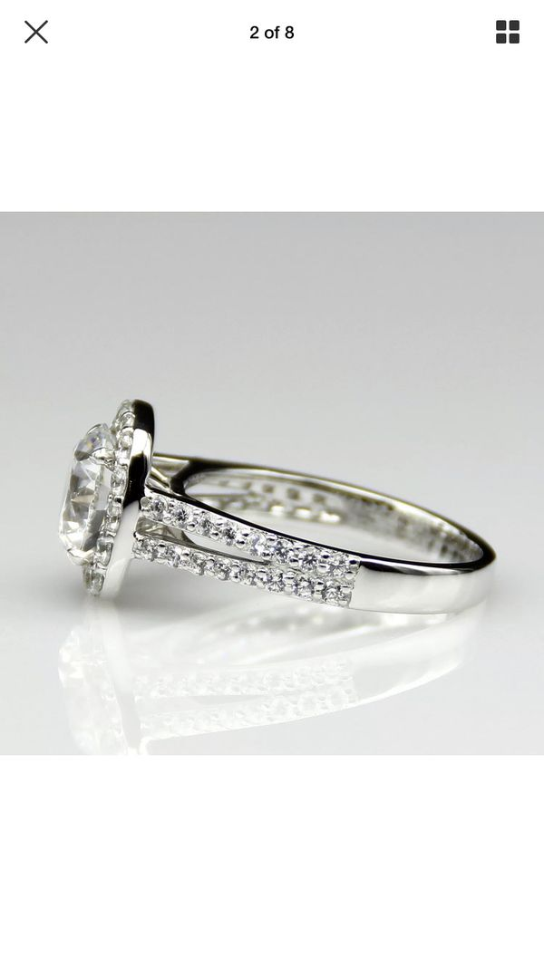 Cusion Cut 2CT 14k white gold wedding engagement ring size 8