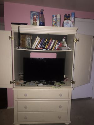 Amour dresser with tv stand and book shelf ! for Sale in Gambrills, MD
