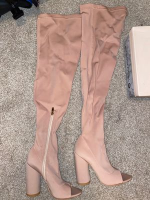 EGO nude lyrca thigh highs boots for Sale in Colleyville, TX