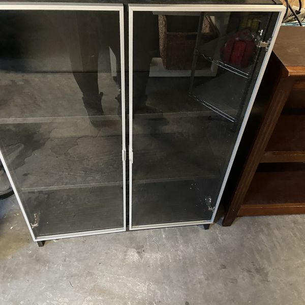 Glass Door Bookshelves / Bookcases / Shelves Dimensions In Pics