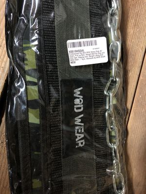WOD Wear Professional Dip Belt with Heavy Duty 30'' Chain, Pull up Belt, Weight Belt for Dips and Chin Ups, Dipping Belt, Weight Lifting Belt with Ch for Sale in Fremont, CA
