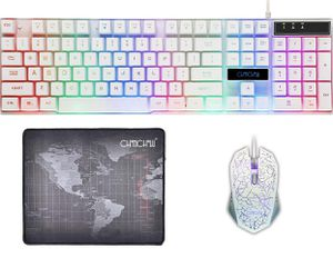 NEW Gaming Wired Backlit Keyboard Mouse Combo LED Illuminated Letter 19 Anti-Ghost Keys White Opptical Mice Compatible iMac Laptop Computer Smart Tv( for Sale in San Dimas, CA