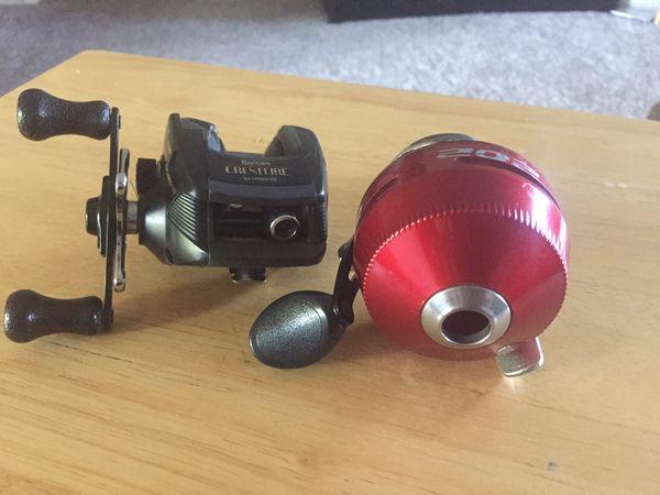 Zebco 202 spincasting fishing reel and Shimano Bantam Crestfire baitcasting