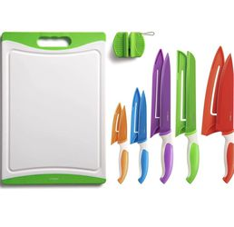 12-Piece Colorful Kitchen Knife Set - 5 Colored Stainless Steel Knives with Sheaths, Cutting Board, and a Sharpener for Sale in Lakeside,  CA