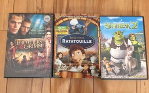 Ratatouille, Shrek 2, Brothers Grimm - like new for Sale in San Jose, CA