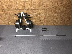 Home Gym Standard Plates, Rack, Straight Weight Bar, Dumbbell Handles for Sale in Jonesboro, AR