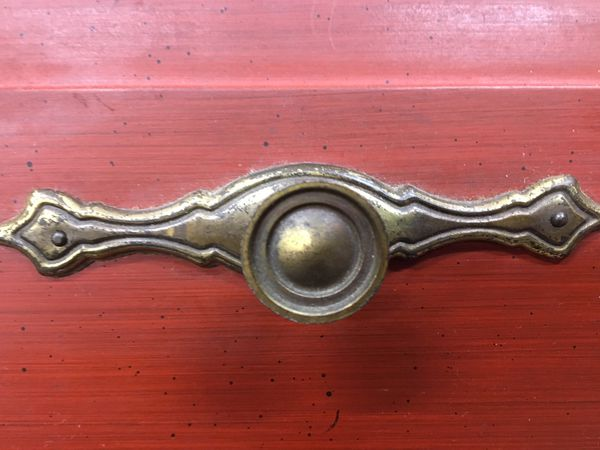 Small painted desk brass hardware