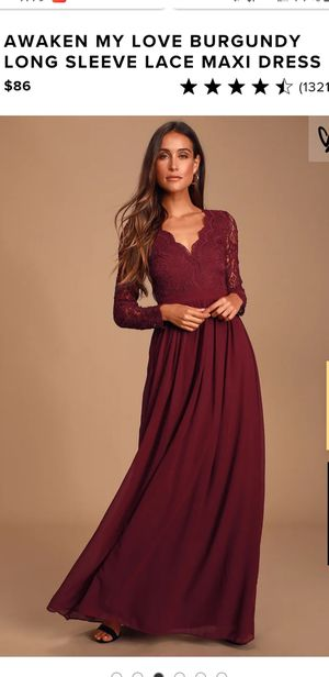 Lulu's size S maroon chiffon gown/ bridesmaid dress for Sale in Pittsburgh, PA