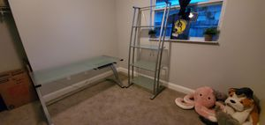 Glass Office desk and shelf for Sale in St. Petersburg, FL