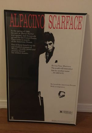 Scarface poster with frame for Sale in Baltimore, MD
