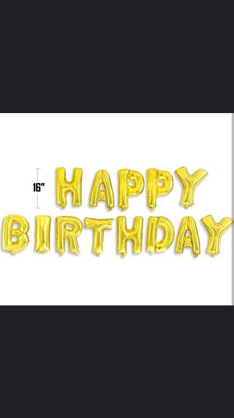 Gold Happy Birthday Balloon Banner $13