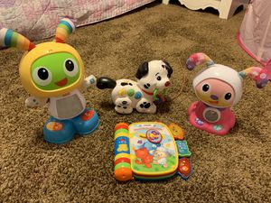 Kids interactive toy (Beat Bo, Fisher Price Dance and Move Puppy, V-Tech Pull and Sing Puppy, V-Texh Rhyme and Discover Book) for Sale in Temecula, CA