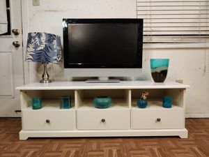 "Nice white big TV stand with 3 drawers and shelves in good condition all drawers working, driveway pickup. L57""*W19.5""*H18"" for Sale in West Springfield, VA"