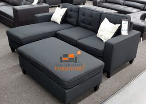 Brand New Black Linen Sectional Sofa Couch + Ottoman for Sale in West Springfield, VA