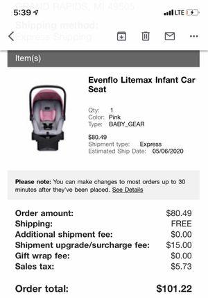 Evenflo Litemax car seat for Sale in Grand Rapids, MI