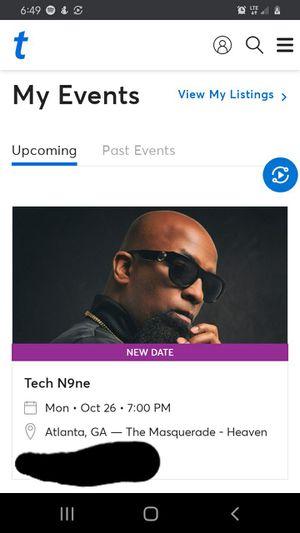 Ticket to tech n9ne for Sale in Murfreesboro, TN