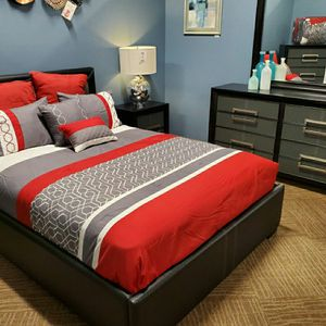 FULL Bedroom SET. New Queen Bed/Leather Padded Frame, Dresser, Mirror & Nightstand. for Sale in Phoenix, AZ