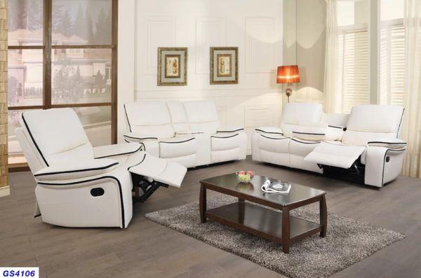 New white Bonded Leather reclining set 3pc