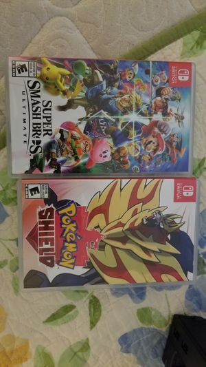 Super Smash Bros and Pokemon shield for nintendo switch for Sale in Placentia, CA