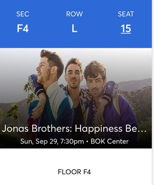 Jonas Brothers 2 FLOOR Tickets Tulsa BOK for Sale in Cushing, OK