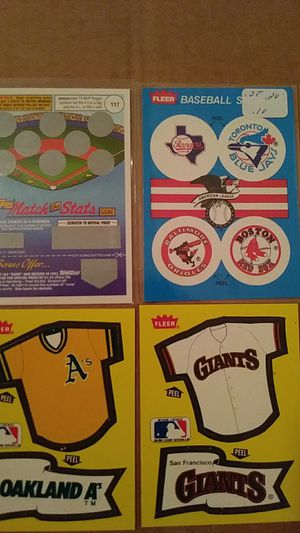 Tops(Match the stats game) You will not win anything by scratching it.. It is a old game. Stickers from Oakland, Giants and older teams for Sale in Boston, MA