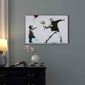 ((FREE SHIPPING)) Balloon Girl and Rage The Flower Thrower - Banksy Street Art on Stretched Canvas Gallery Wrap Painting like print for Sale in New York, NY