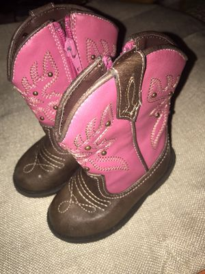 Little Girls Sz 5 Pink embellished Cowboy Cowgirl Boots w side Zippers 🎀 Sweet! for Sale in Savannah, GA